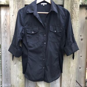 James Perse Black Buttoned 3/4 Sleeve Panel Shirt